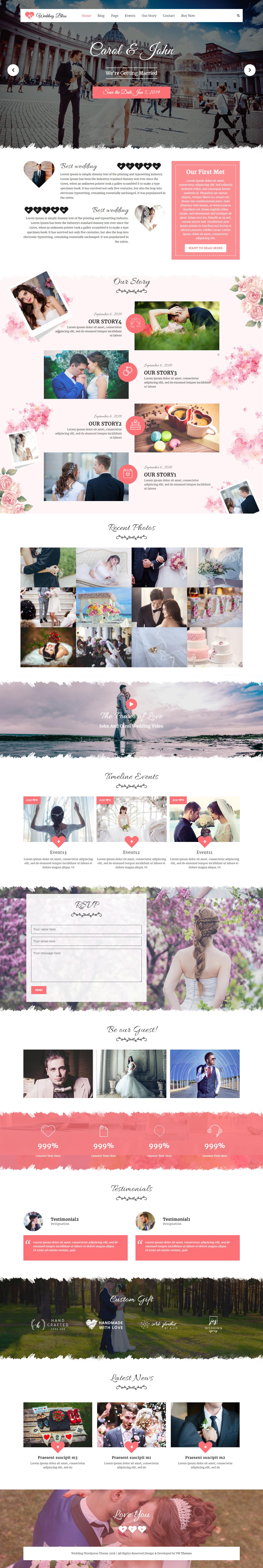 vw wedding best free wedding wordpress theme - 10+ Best Free Wedding WordPress Themes