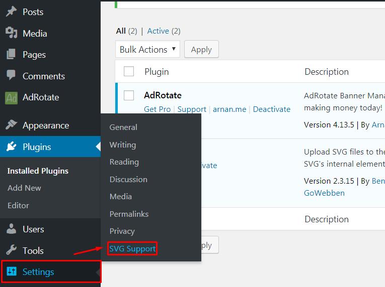 Add SVG in WordPress.