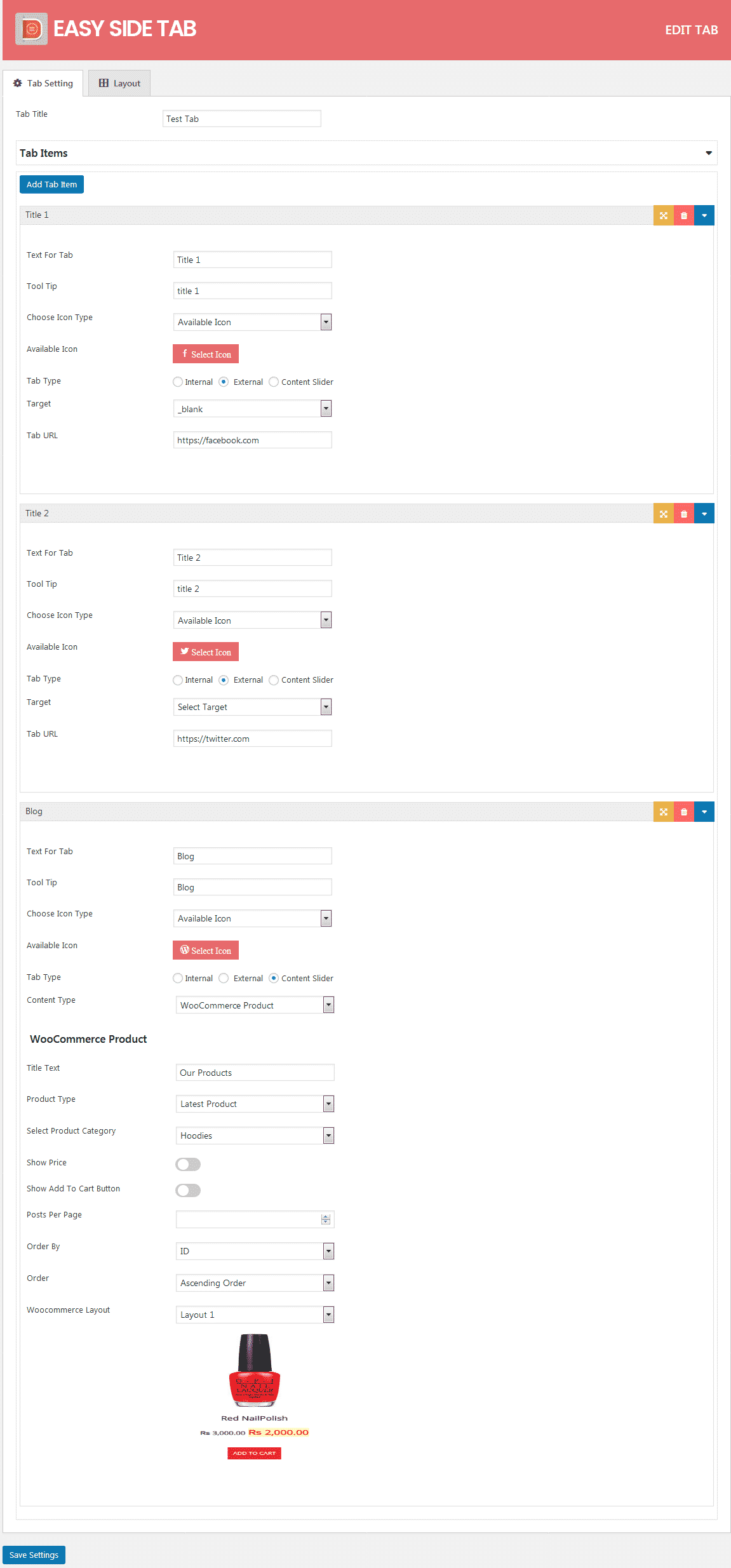Easy Side Tab Pro: Tab Settings