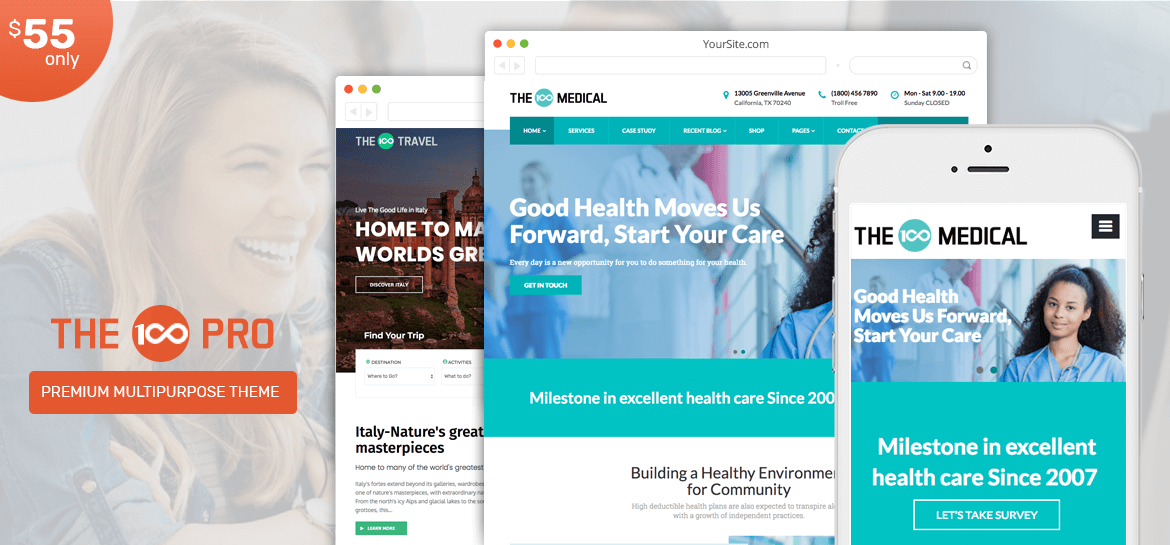 Multipurpose and Multi layout Premium WordPress Theme - The100 Pro Update ! Introducing a new layout and elementor based support