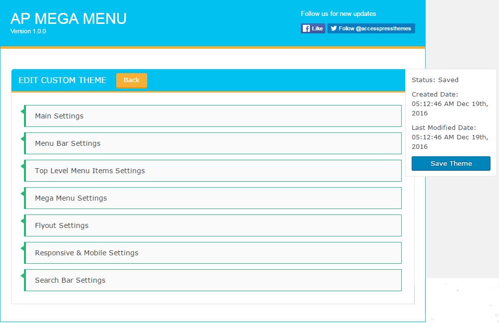 AP Mega Menu: Custom Template Options