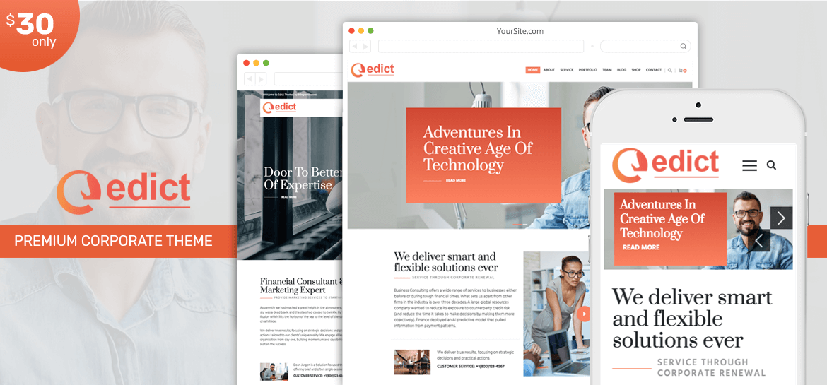 Edict - The Best Corporate Business WordPress Theme of 2019