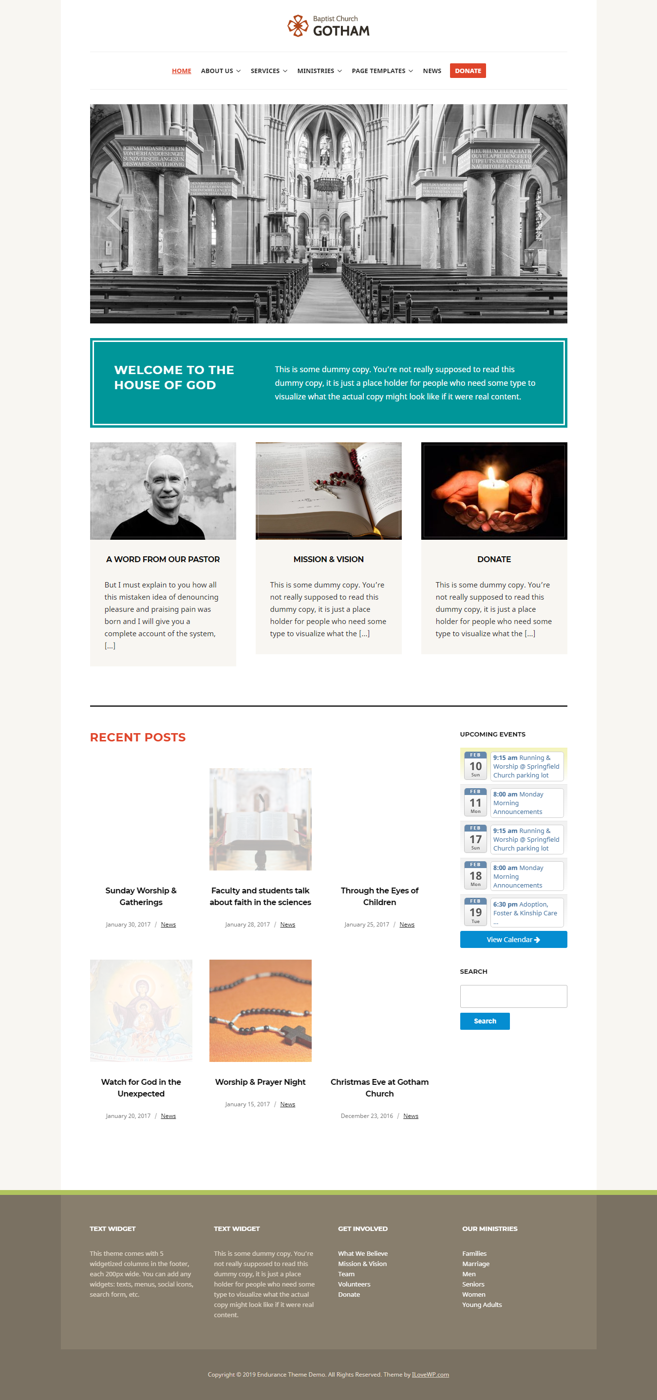 endurance best free church wordpress theme - 10+ Best Free WordPress Church Themes