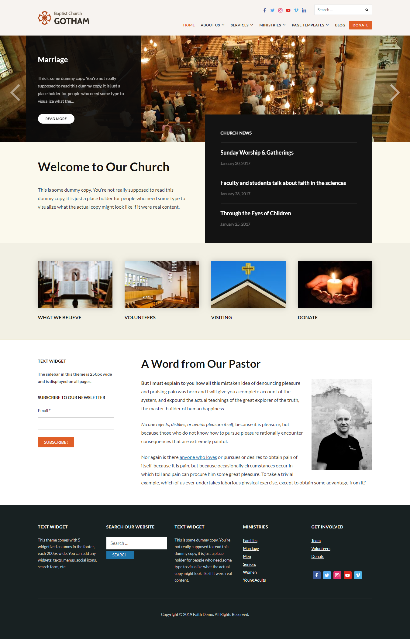 faith best free church wordpress theme - 10+ Best Free WordPress Church Themes