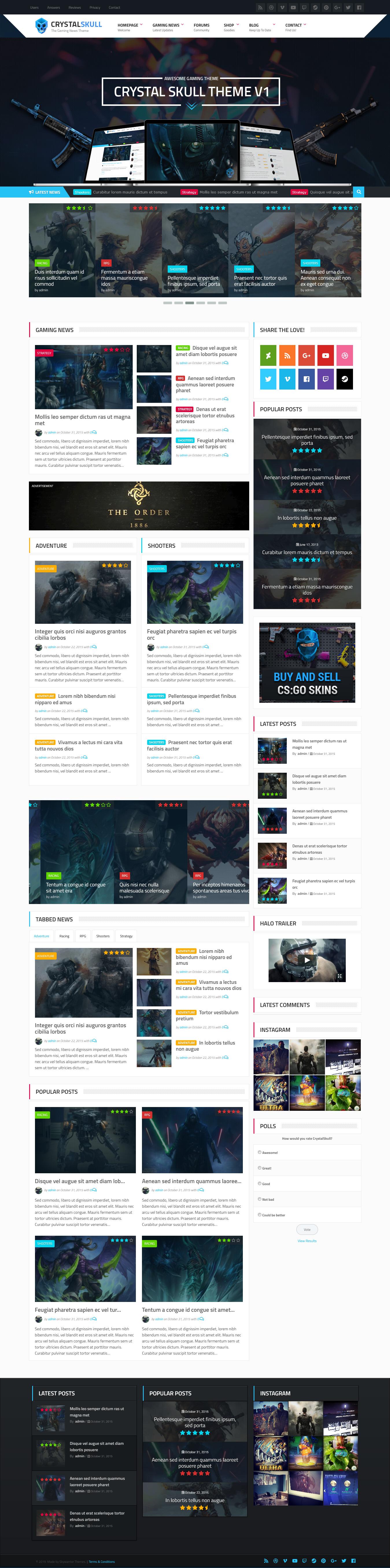 CrystallSkull – Best Premium Gaming WordPress Theme