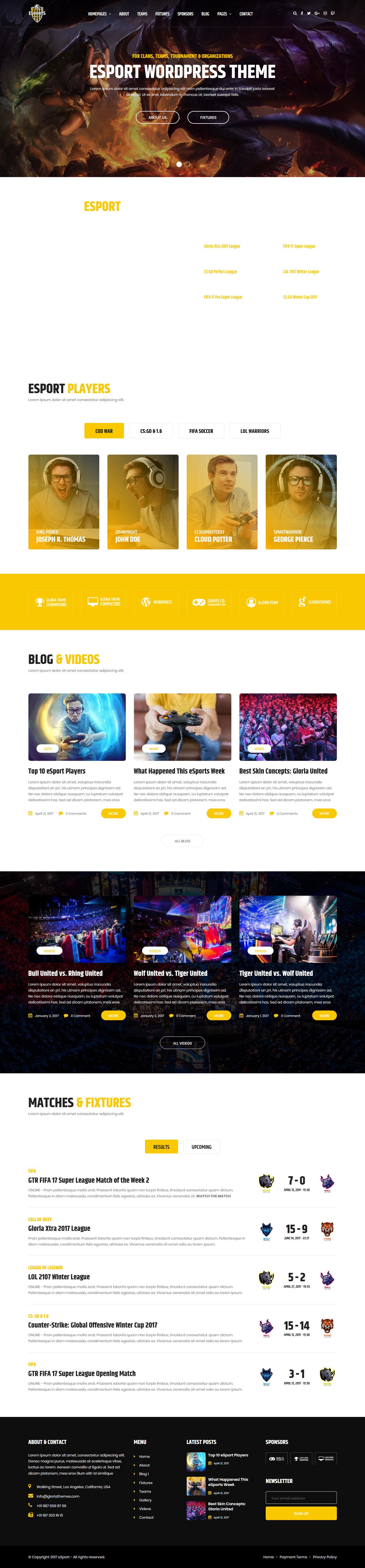 eSport - Best Premium Gaming WordPress Theme