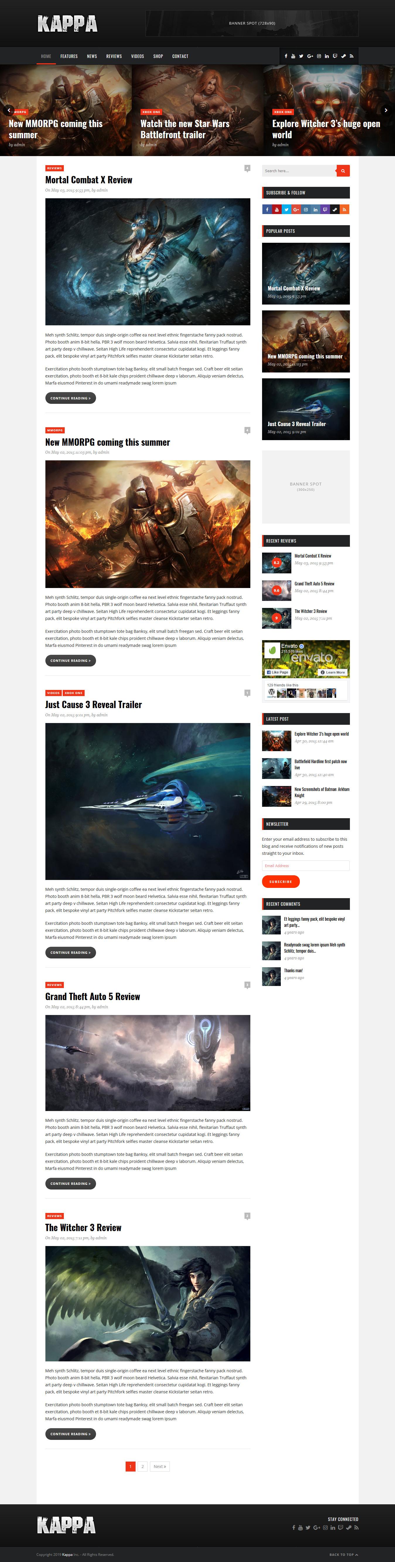 Kappa - Best Premium Gaming WordPress Theme
