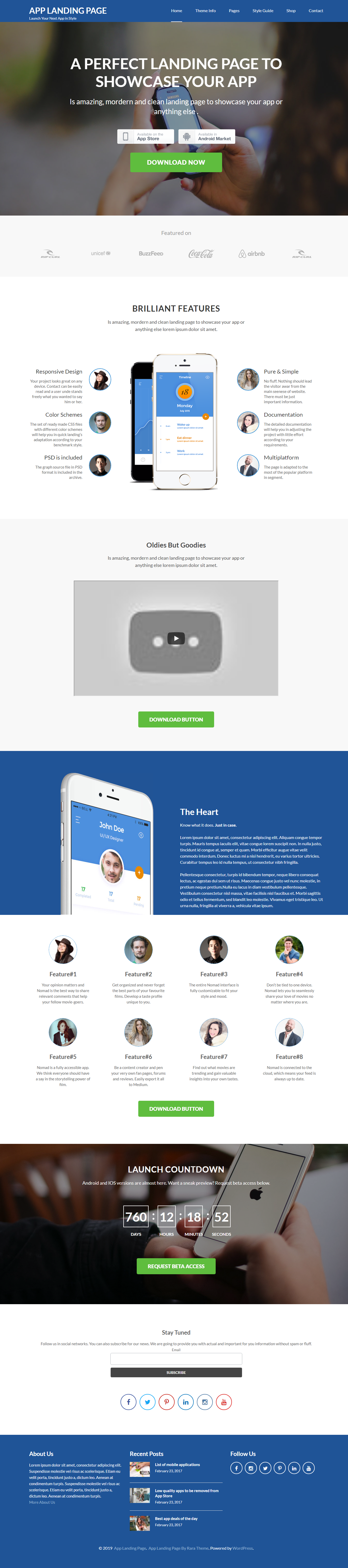 App Landing Page - Best Free Mobile App WordPress Theme