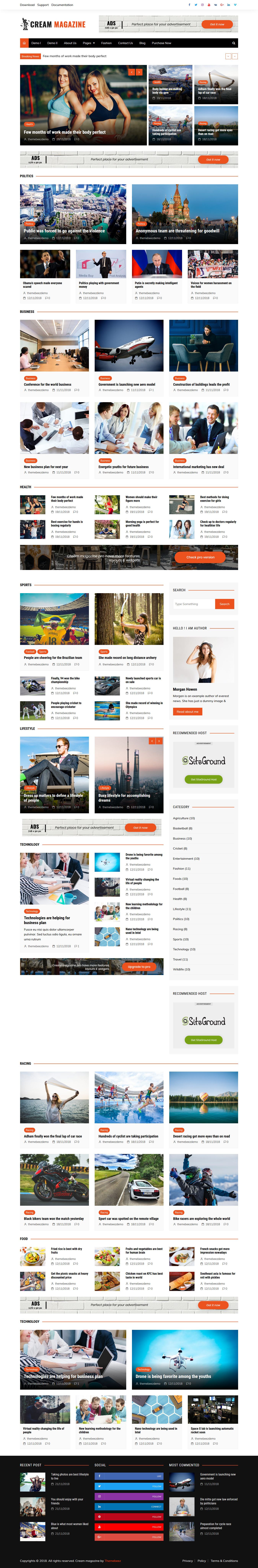 Cream Magazine - Best Free Review WordPress Theme