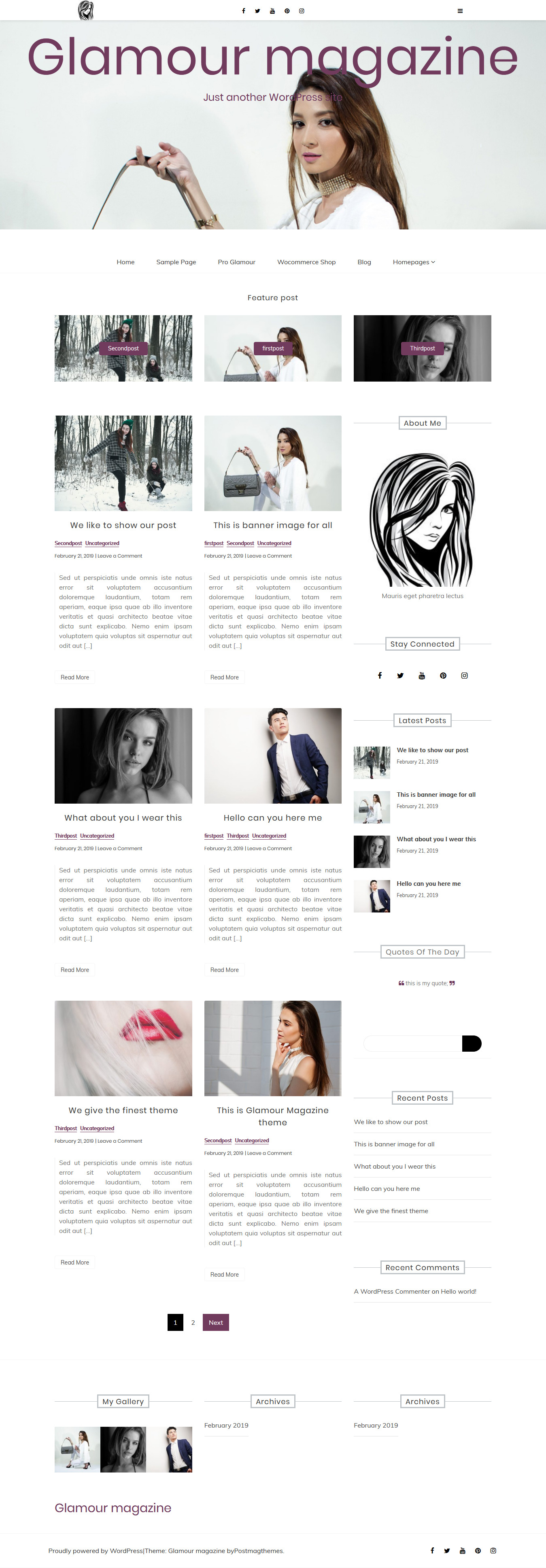 Glamour magazine - Best Free Review WordPress Theme