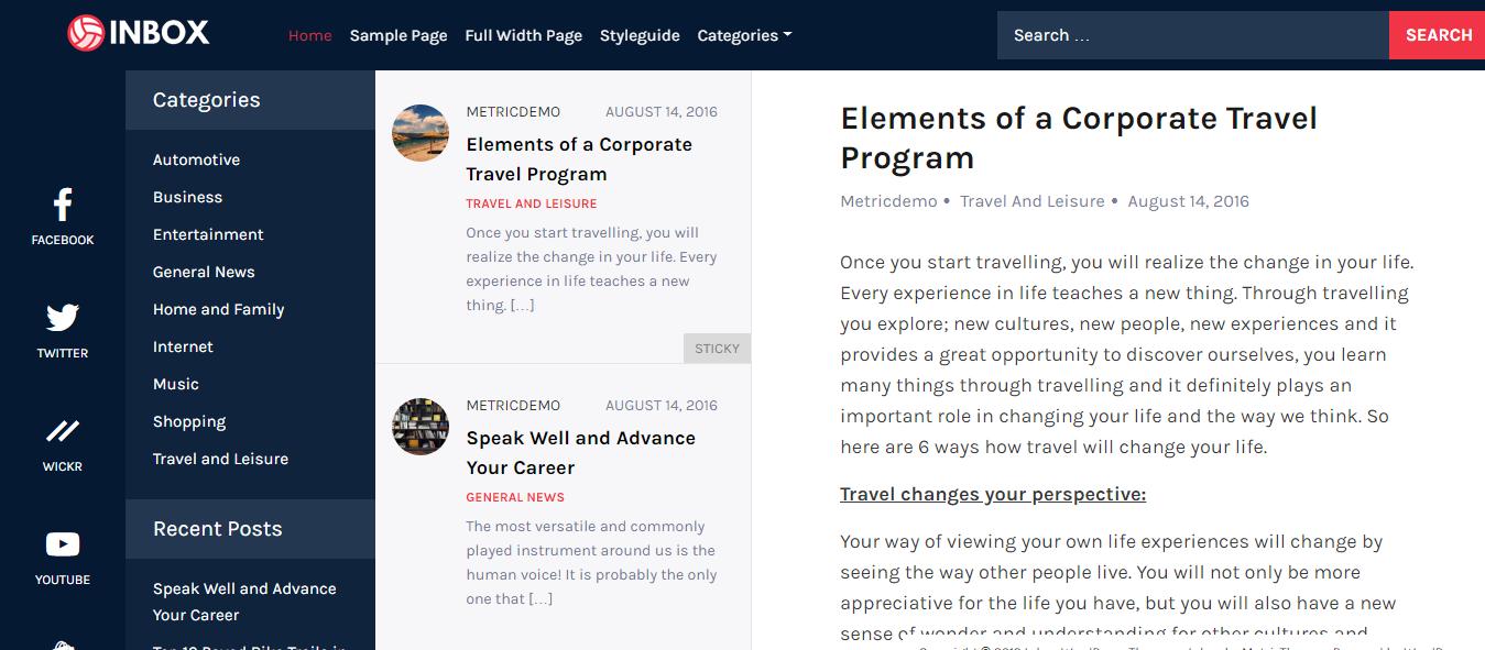 Inbox - Best Free Mobile App WordPress Theme