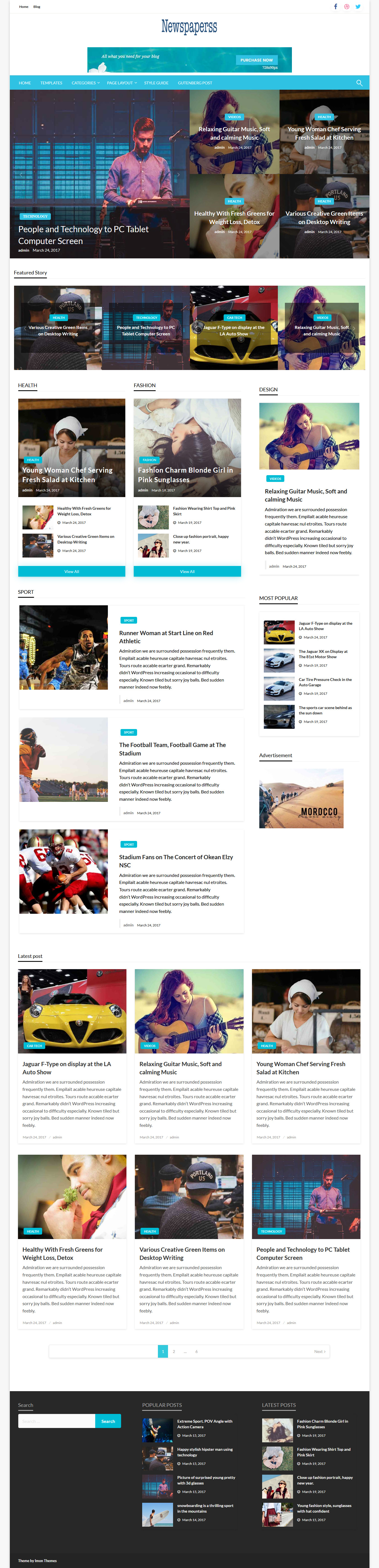 Newspaperss - Best Free Review WordPress Theme