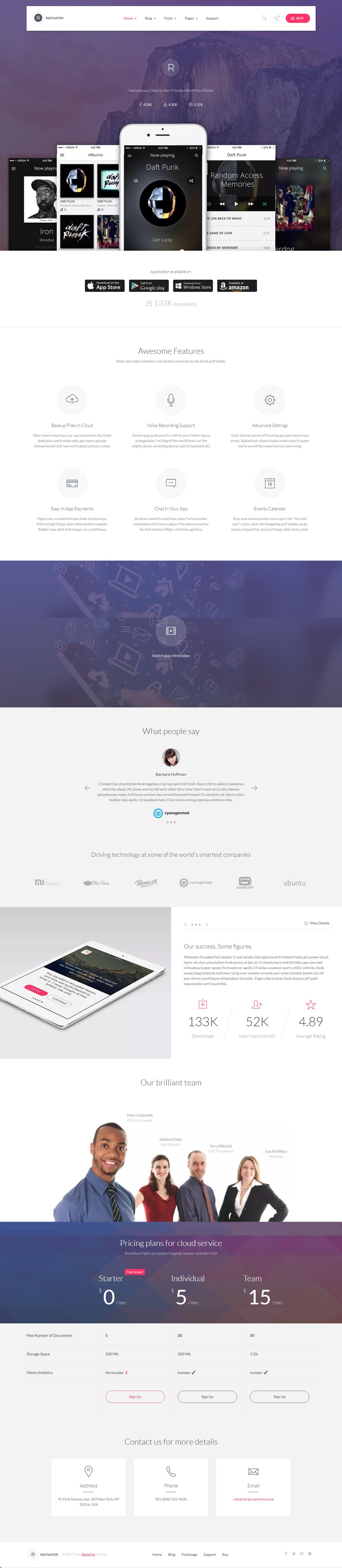 Restarter- Best Free Mobile App WordPress Theme