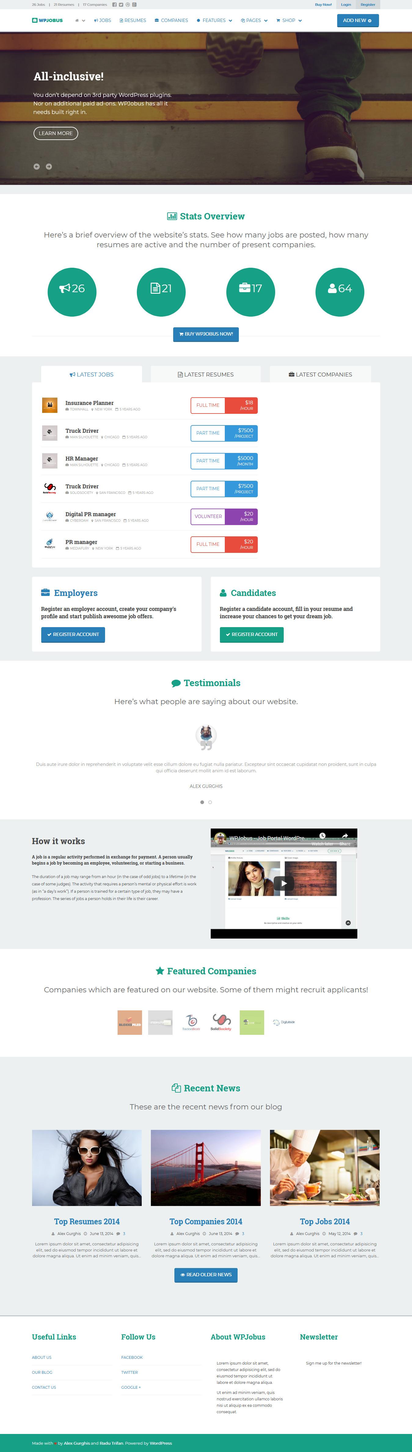 WPJobus - Best Premium Resume WordPress Theme