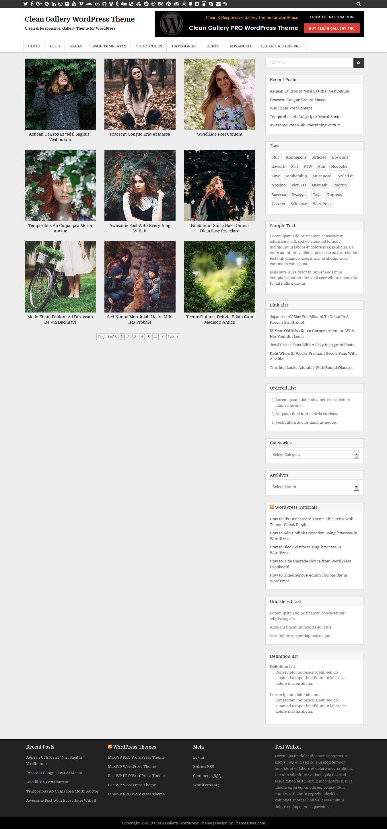 Clean Gallery - Best Free Gallery WordPress Theme