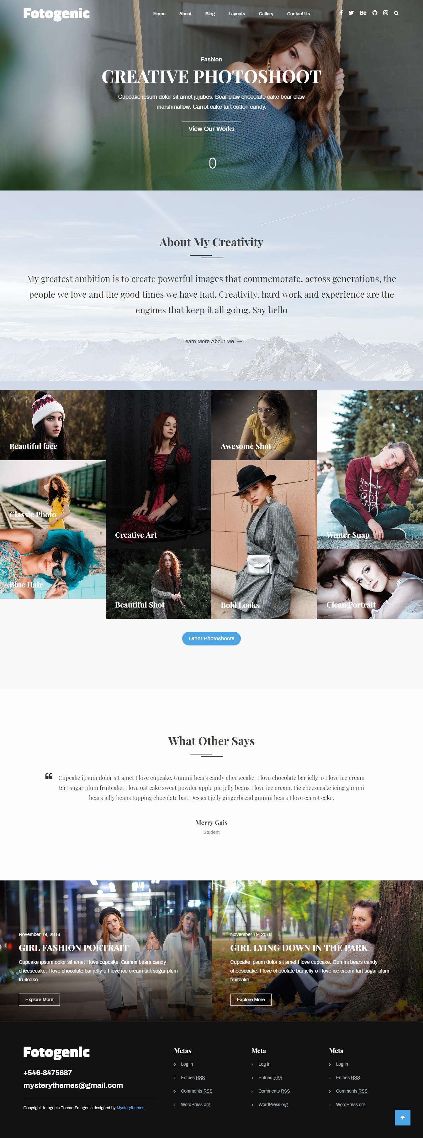 Fotogenic - Best Free Gallery WordPress Theme