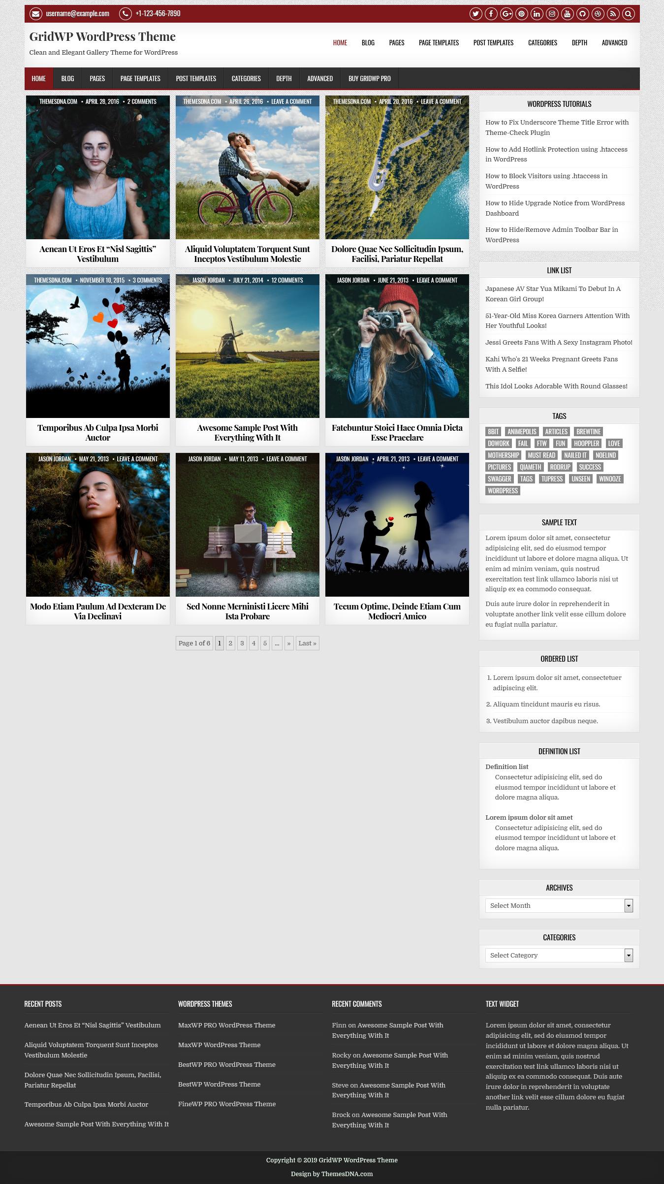 GridWP - Best Free Gallery WordPress Theme
