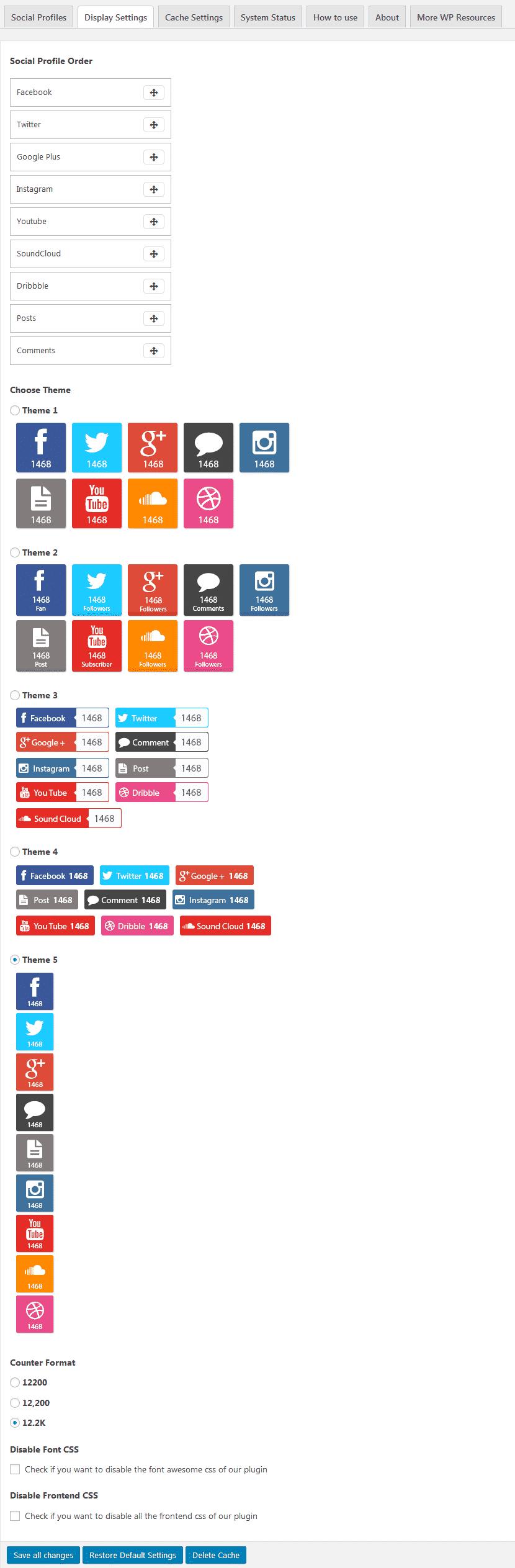 AccessPress Social Counter: Display Settings