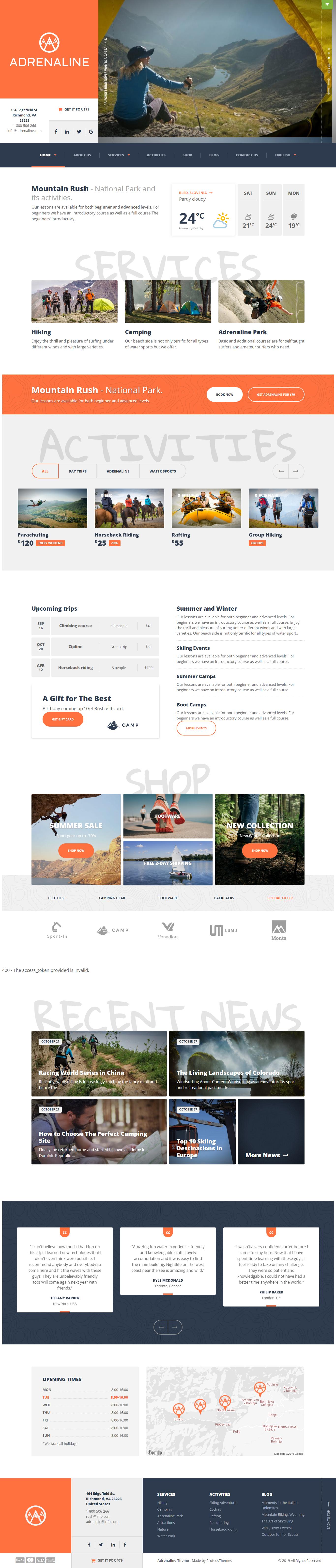 Adrenaline - Best Premium Outdoor Activities WordPress Theme
