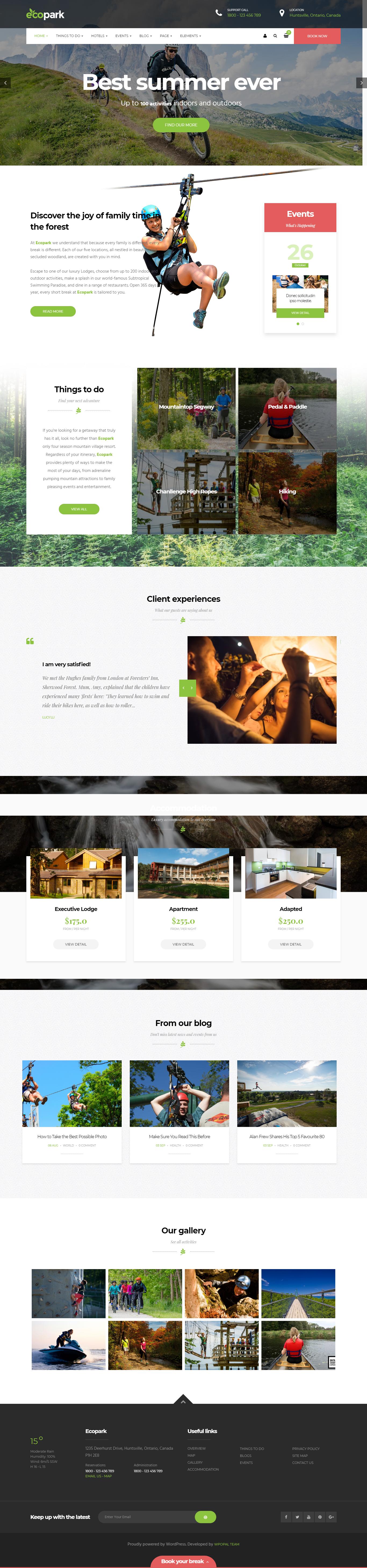 Ecopark- Best Premium Outdoor Activities WordPress Theme
