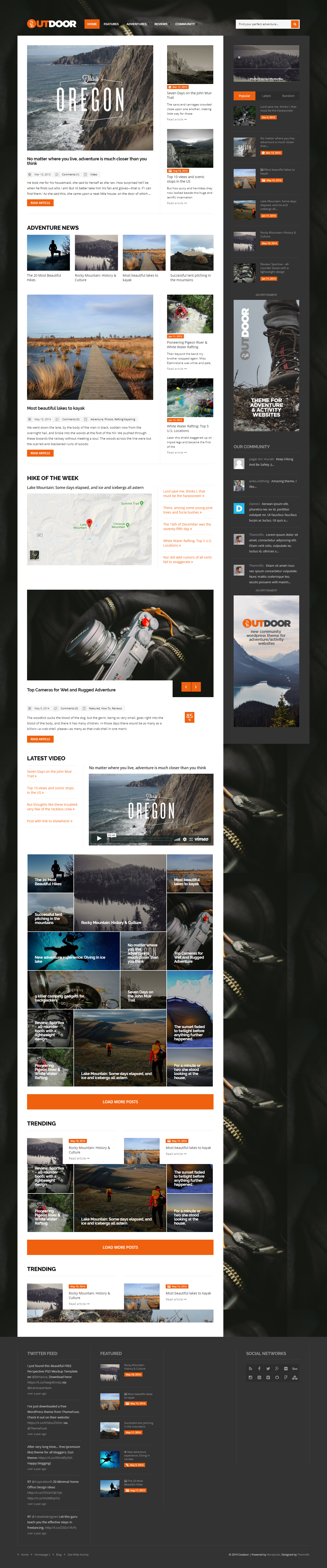 Outdoor - Best Premium Outdoor Activities WordPress Theme